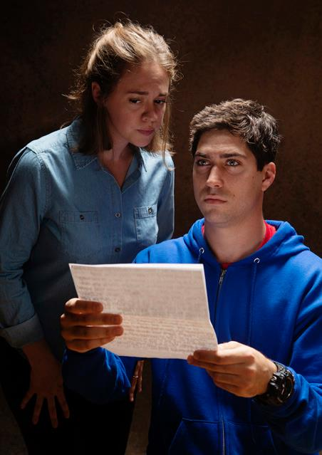 Holly Griffith as Judy and Hunter Hnat as Christopher. Photo by Tim Fuller, courtesy of The Rogue Theatre.