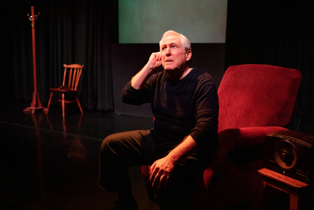 Bill Epstein in My Life In Sports. Photo by Tim Fuller, courtesy of The Scoundrel & Scamp Theatre.