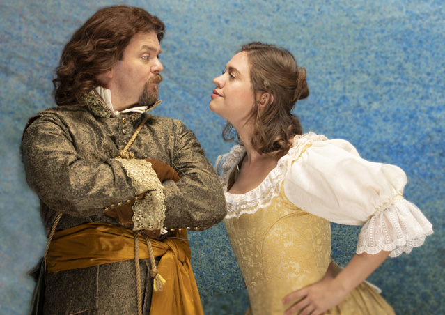 Ryan Parker Knox as Benedick and Holly Griffith as Beatrice. Photo by Tim Fuller, courtesy of The Rogue Theatre.