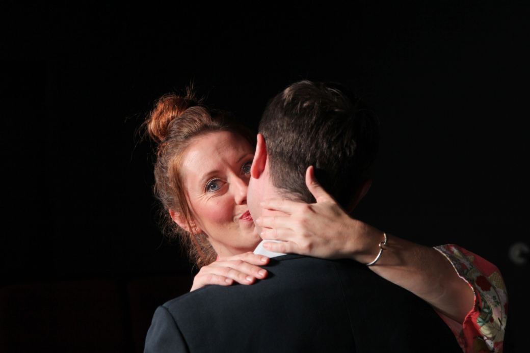 Shanna Brock and Stephen Frankenfeld in Stage Kiss. Photo by Ryan Fagan, courtesy of Live Theatre Workshop.