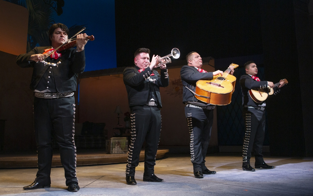 Francisco Javier Molina on violin, Esteban Dagnino on trumpet, Antonio A. Pró on guitarrón, and Ali Pizarro on viheula. Photo by Tim Fuller, courtesy of Arizona Theatre Company.