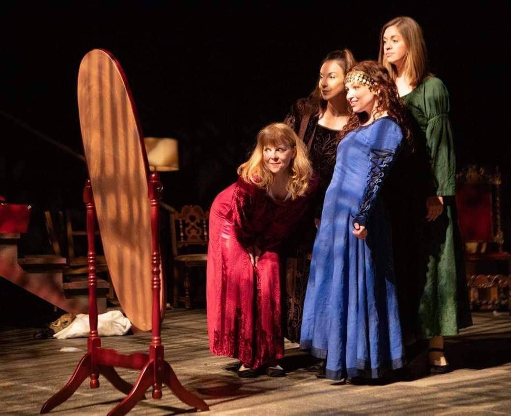 Patty Gallagher, Claire Elise, Bryn Booth, and Holly Griffith in The Secret in the Wings. Photo by Tim Fuller, courtesy of The Rogue Theatre.