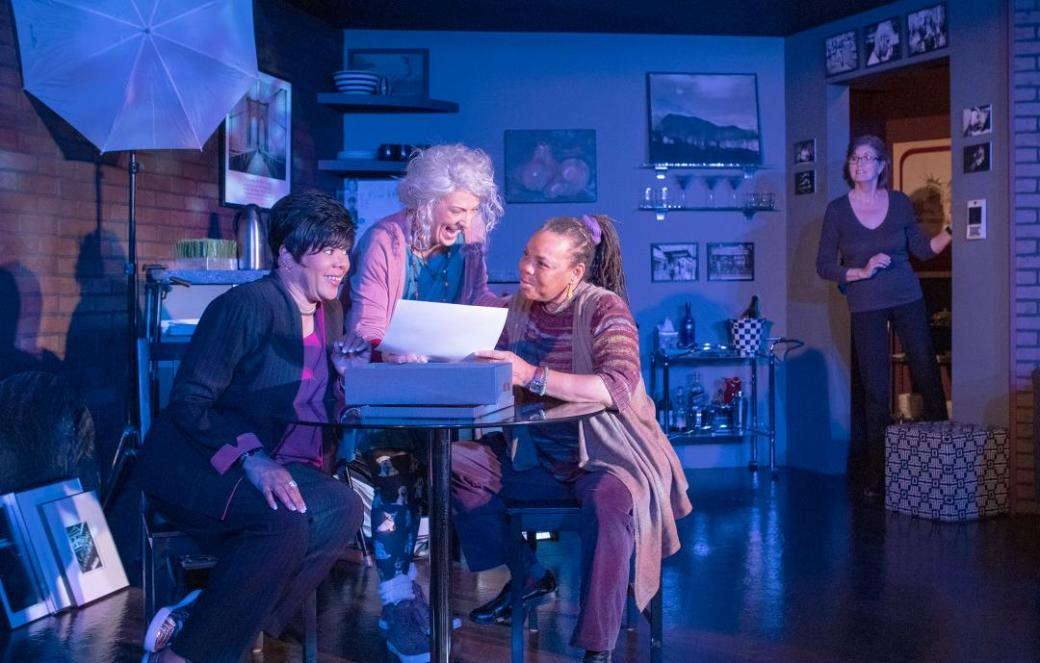 P.J. Peavy as Sil, Susan Cookie Baker as Gabby, ToReeNee Wolf as Mac, and  Geri Hooper Wharham as Danny. Photo by Tim Fuller, courtesy of The Invisible Theatre.