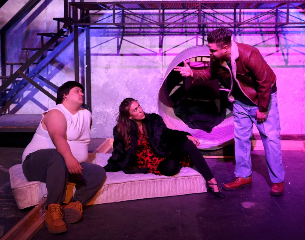 Adrian Hinojos as Dionysus, Veronica Hernandez as Persephone/Semele, and Rene Gallego as Orpheus. Photo courtesy of Pima Community College Center for the Arts.