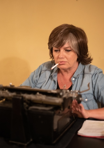 Sarah Macmillan as Patricia Highsmith. Photo by Whitney Morton Woodcock, courtesy of Something Something Theatre.