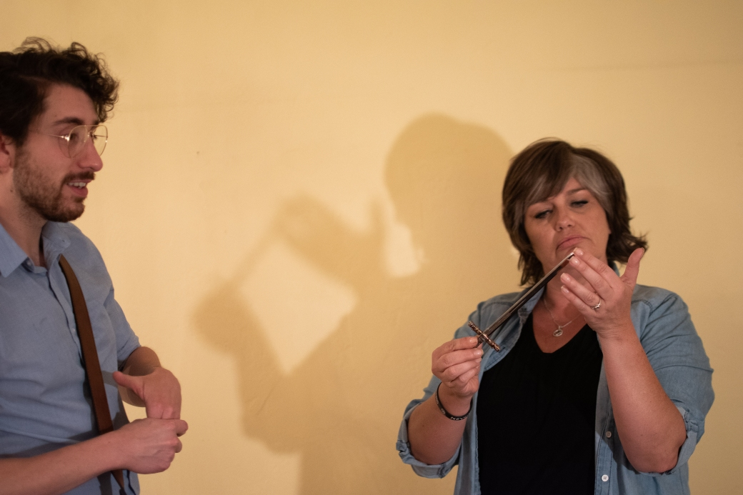 Damian Garcia as Edward Ridgeway and Sarah Macmillan as Patricia Highsmith. Photo by Whitney Morton Woodcock, courtesy of Something Something Theatre.