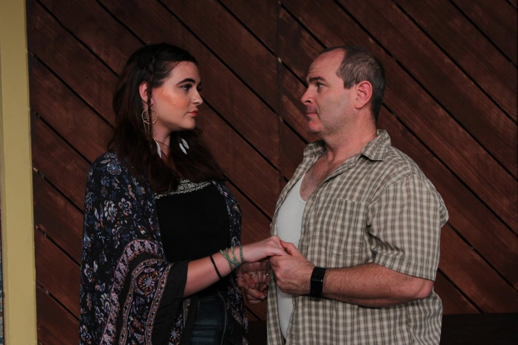 Emily Gates as River and Cliff Madison as Frank. Photo courtesy of Live Theatre Workshop.