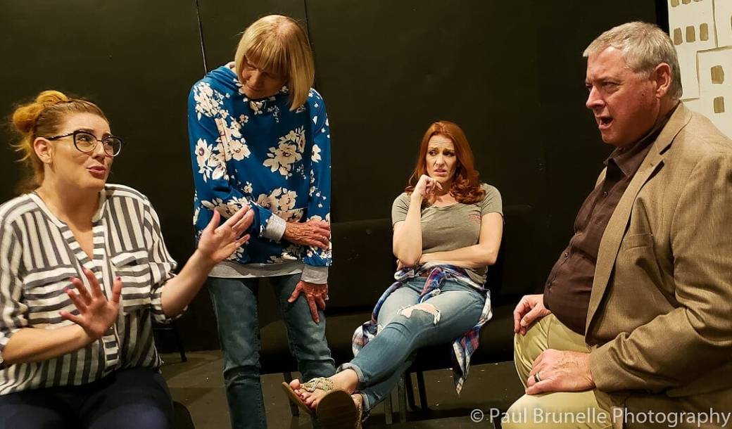 The cast of Rabbit Hole. Photo by Paul Brunelle, courtesy of The Community Players.