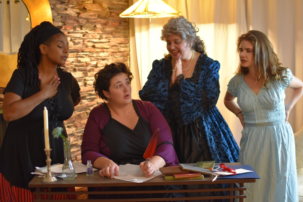 Dawn McMillan as Marianne Angelle, Samantha Severson as Olympe de Gouges, Whitney Woodcock as  Marie Antoinette, and Grace Otto as Charlotte Corday.