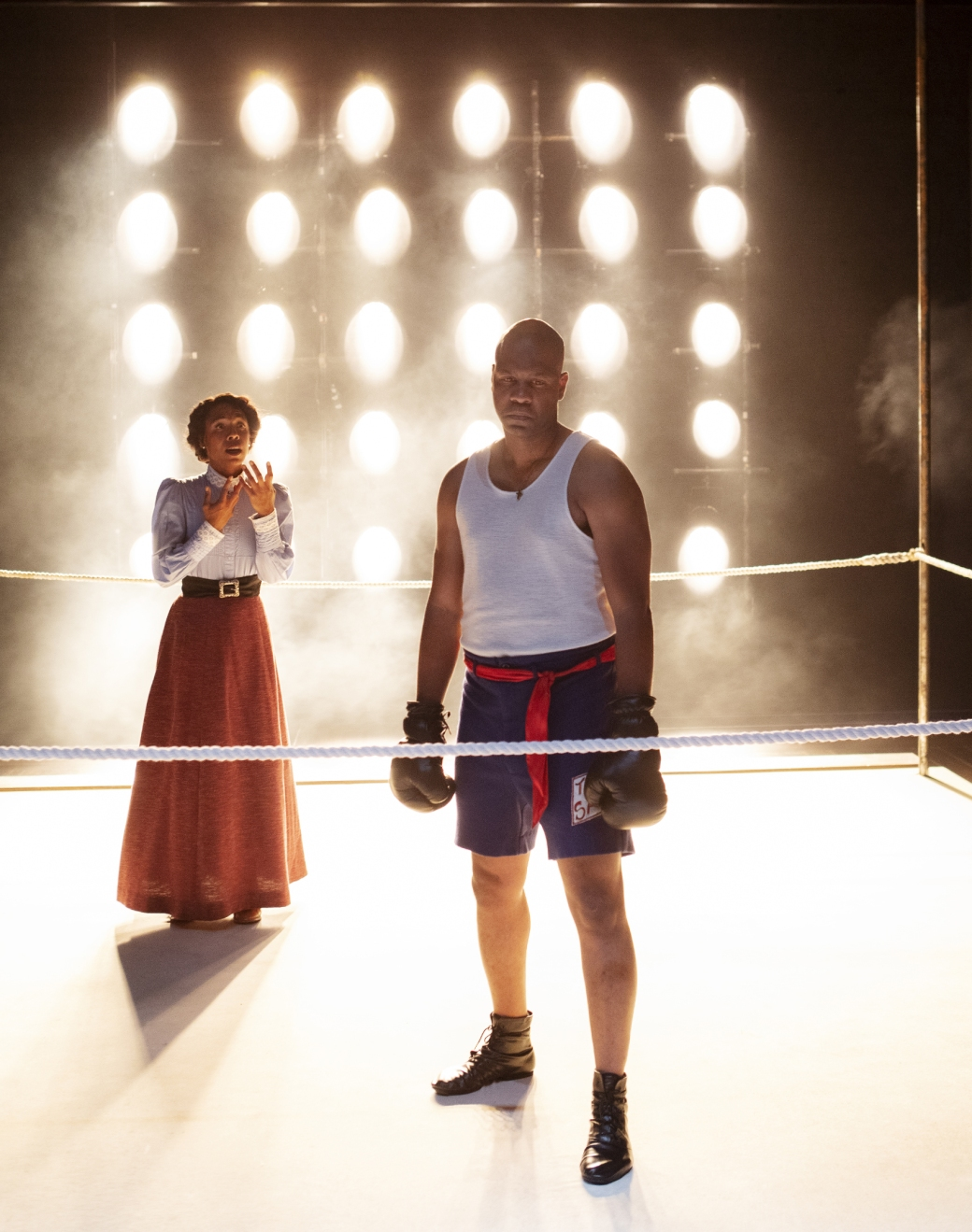 """Erica Chamblee as Nina and Bechir Sylvain as Jay """"The Sport"""" Jackson. Photo by Tim Fuller, courtesy of Arizona Theatre Company."""