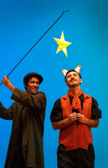 Cole Potwardowski as The Lamp Lighter and Ryuto Adamson as The Fox. Photo by Tim Fuller, courtesy of The Scoundrel & Scamp Theatre.