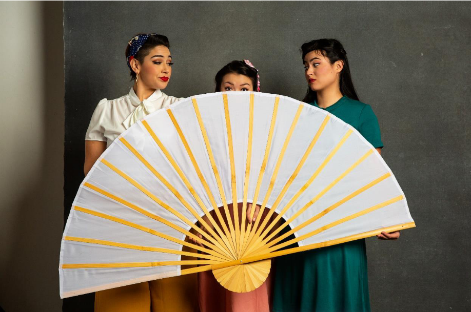 Erin Anderson as Pitti-Sing, Aliyah Douglas as Yum-Yum, Ruthie Hayashi as Peep-Bo in Hot Mikado. Photo by Molly Condit, courtesy of Southern Arizona Performing Arts Company.