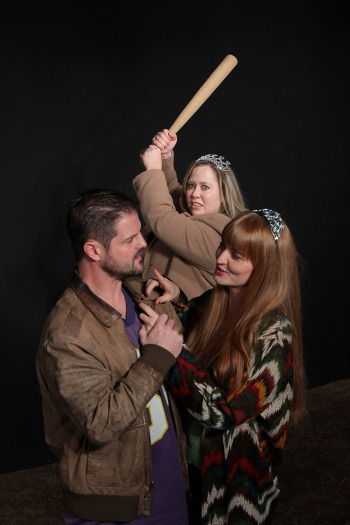 Clockwise from top: Avis Judd as Olive, Samantha Cormier as Betty, and Stephen Frankenfield as Gus. Photo courtesy of Live Theatre Workshop.
