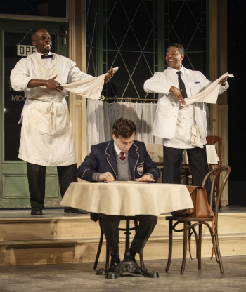Odera Adimorah as Willie, Ian Eaton as Sam, and Oliver Prose as Hally (front). Photo courtesy of Arizona Theatre Company.
